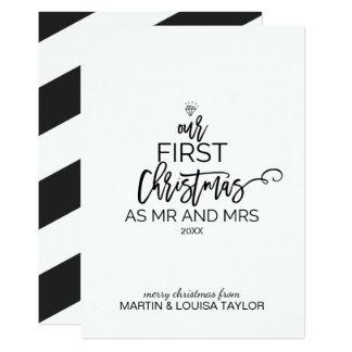 Cartão Árvore de Natal nosso primeiro Natal como o Sr. e