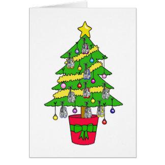 Cartão Árvore de Natal para os corredores, decorada com