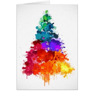 Cartão Árvore de Natal, pintura, cores preliminares