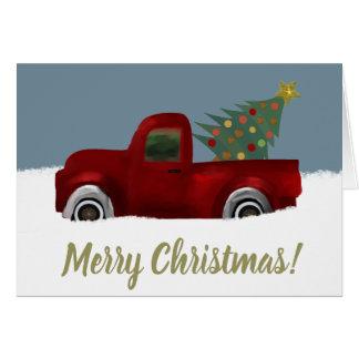 Cartão Árvore de Natal retro do caminhão do vintage