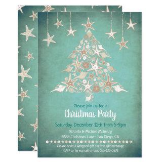 Cartão Árvore de Natal tropical do Seashell bonito