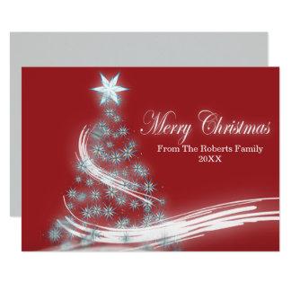 Cartão árvore de Natal verde festiva chique do xmas
