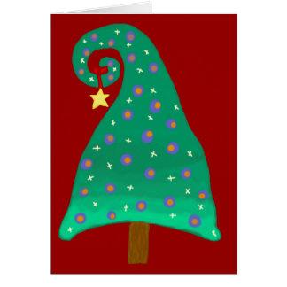 Cartão Árvore de Natal verde lunática
