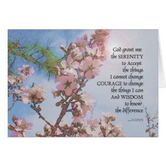 Cartão Árvore do céu das flores da oração da serenidade
