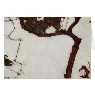 Cartão Árvore do outono com fúcsia