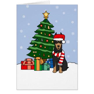 Cartão Árvore do Pinscher e de Natal do Doberman
