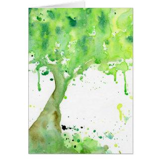 Cartão Árvore do primavera do abstrato da aguarela,