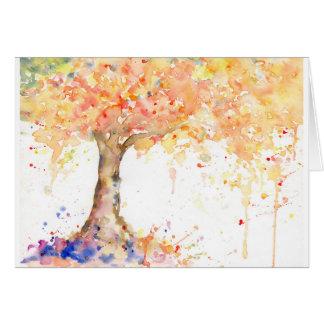 Cartão Árvore dourada abstrata da aguarela