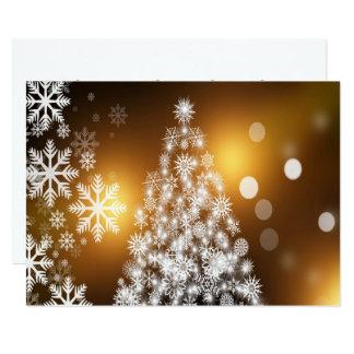 Cartão Árvore dourada do floco de neve de Bokeh do Natal