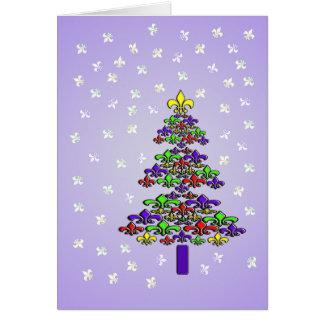 Cartão Árvore e neve de Natal da flor de lis