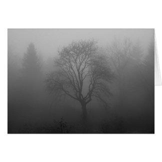 Cartão Árvore na névoa