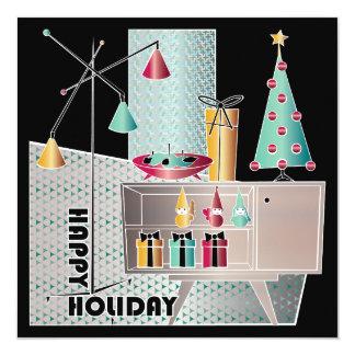 Cartão Árvore retro do Natal