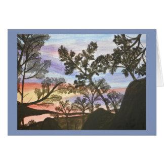 Cartão Árvore Silhouesttes na aguarela do por do sol