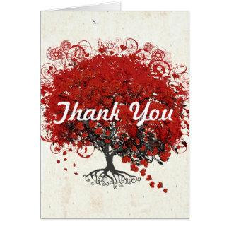 Cartão Árvore vermelha da folha do coração
