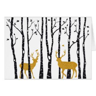 Cartão Árvores da rena e de vidoeiro da sagacidade do
