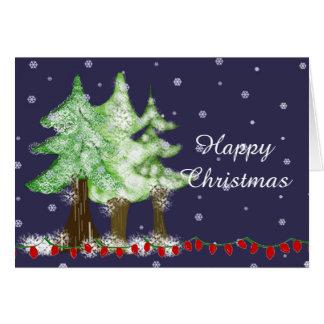 Cartão Árvores de Natal espanadas da noite neve nevado