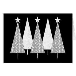 Cartão Árvores de Natal - fita branca