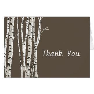 Cartão Árvores de vidoeiro elegantes que Wedding o