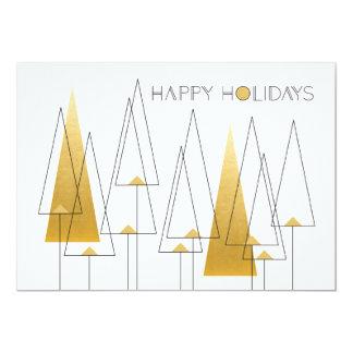 Cartão Árvores do feriado do art deco