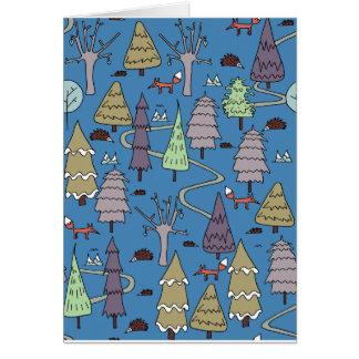 Cartão árvores do inverno