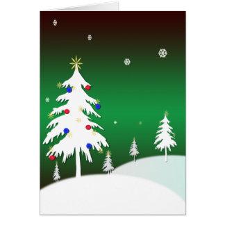 Cartão Árvores do White Christmas com fundo verde