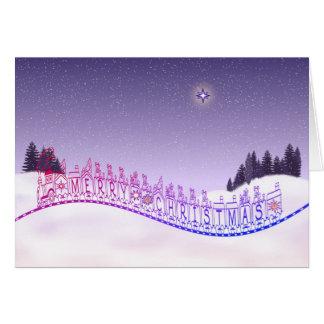 Cartão Árvores e neve da estrela do trem do brinquedo do