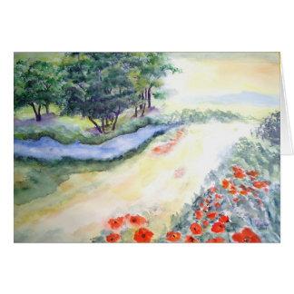 Cartão Árvores e papoilas de Bach do Watercolour