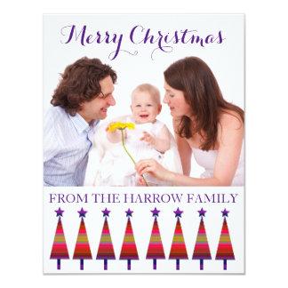 Cartão Árvores roxas de cumprimento da estrela do Natal