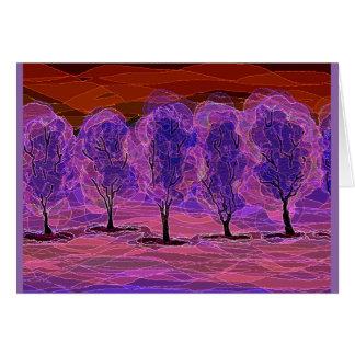 Cartão Árvores roxas (fundo vermelho)