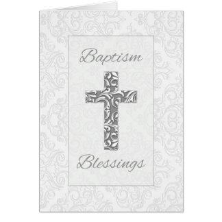 Cartão As bênçãos do baptismo, cruz com damasco rodam, 3D