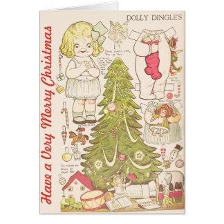 """Cartão As bonecas de papel do vintage """"têm muito o Feliz"""