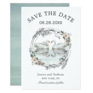 Cartão As cisnes românticas do casamento salvar a data