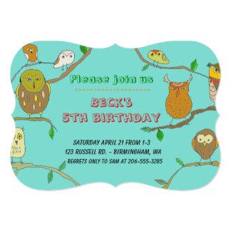 Cartão As corujas na festa de aniversário personalizada