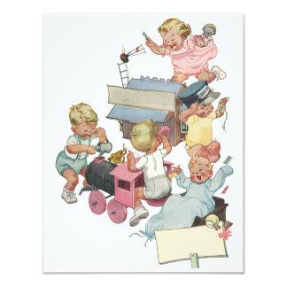Cartão As crianças do vintage que jogam o brinquedo de w