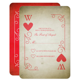Cartão Ás do vintage de corações que Wedding RSVP