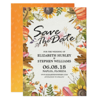 Cartão As economias Wedding a queda do outono da data