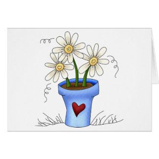 Cartão As flores da mãe · Pote de flor azul