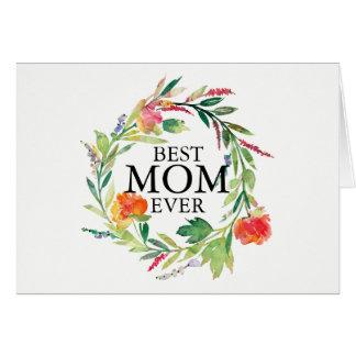 Cartão As flores das aguarelas envolvem o melhor texto da