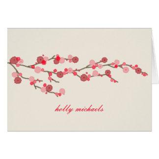 Cartão As flores de cerejeira da aguarela personalizaram
