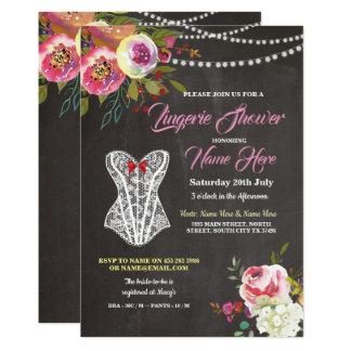 Cartão As flores do espartilho do giz do chá da lingerie