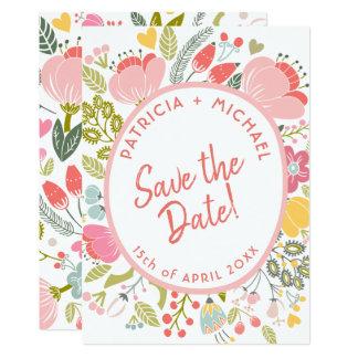 Cartão As flores do prado do casamento do primavera