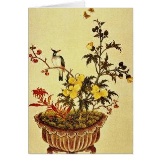 Cartão As flores e os pássaros vermelhos, artista