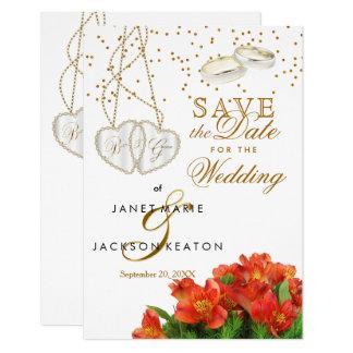 Cartão As flores florais alaranjadas brilhantes salvar a