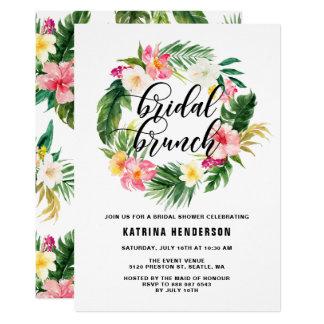 Cartão As flores tropicais da aguarela envolvem a