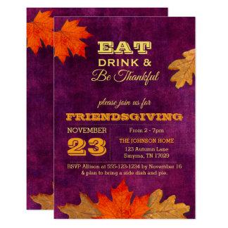 Cartão As folhas de outono da ameixa comem a bebida &