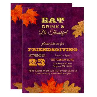 Cartão As folhas de outono da ameixa comem a bebida e