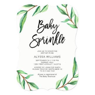 Cartão As folhas minimalistas do verde no bebê branco