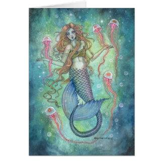 Cartão As geléias sereia e arte da fantasia das medusa