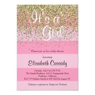 Cartão As listras & o chá de fraldas cor-de-rosa do