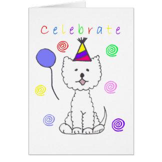 Cartão As montanhas Terrier branco ocidentais comemoram